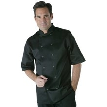 Vegas Chefs Jacket - Short Sleeve Black Polycotton. Size: XL (To fit chest 48 -